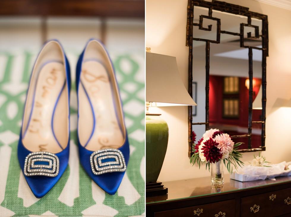 Sam Edelman blue bridal shoe next to Ilonka Floral Design Dahlia bouquet