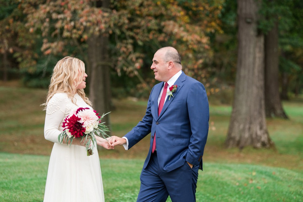 First look during the Fall wedding at Sunnybrook Golf Club
