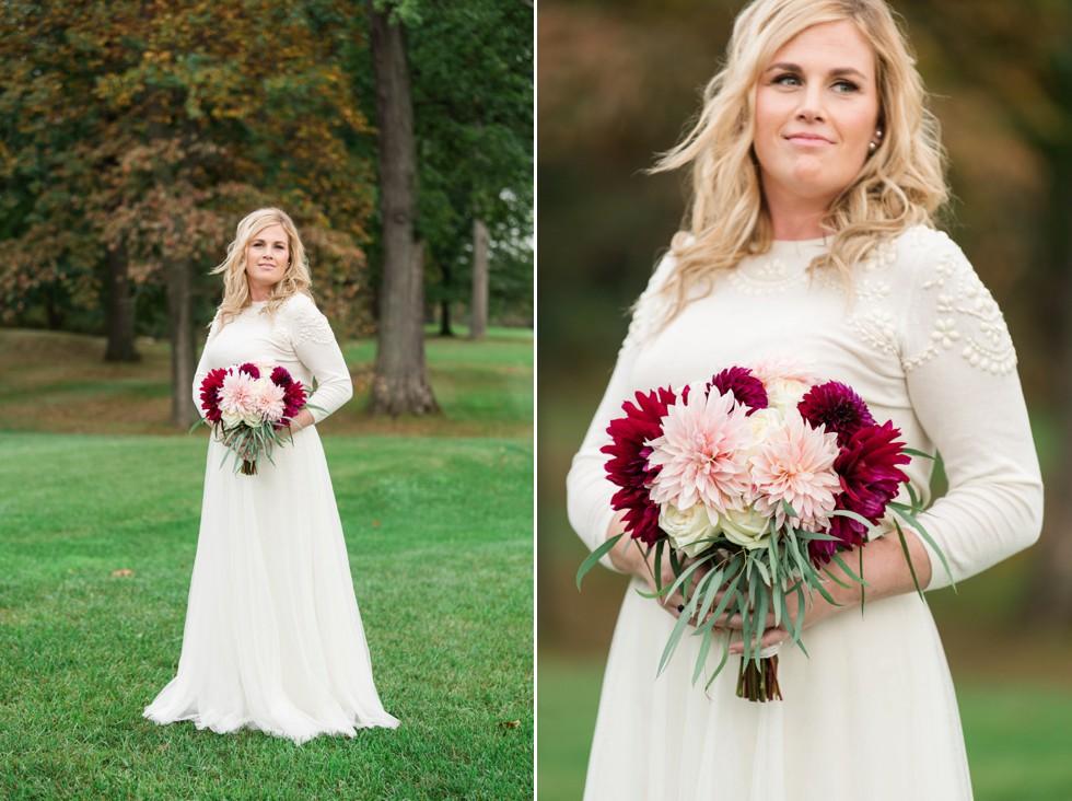 Jenny Yoo Dress and Ilonka Floral Design Dahlia bouquet