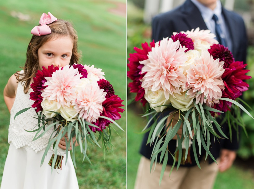 Sunnybrook Golf Club and flower girl holding Ilonka Floral Design Dahlia bouquet