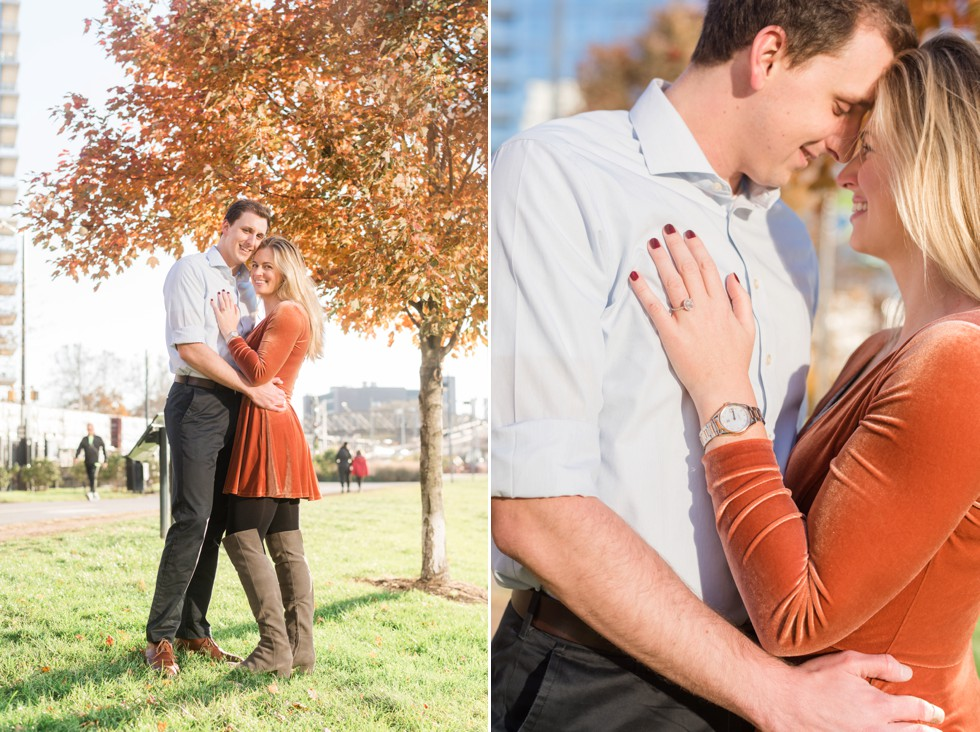 Schuylkill River trail fall engagement photos