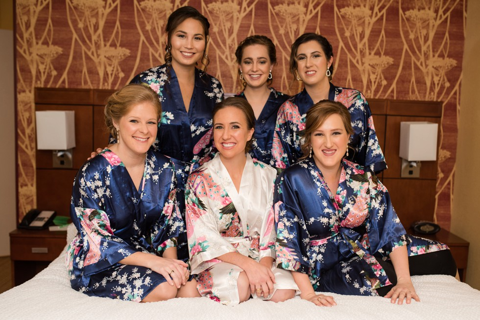 floral bridesmaid robes in navy