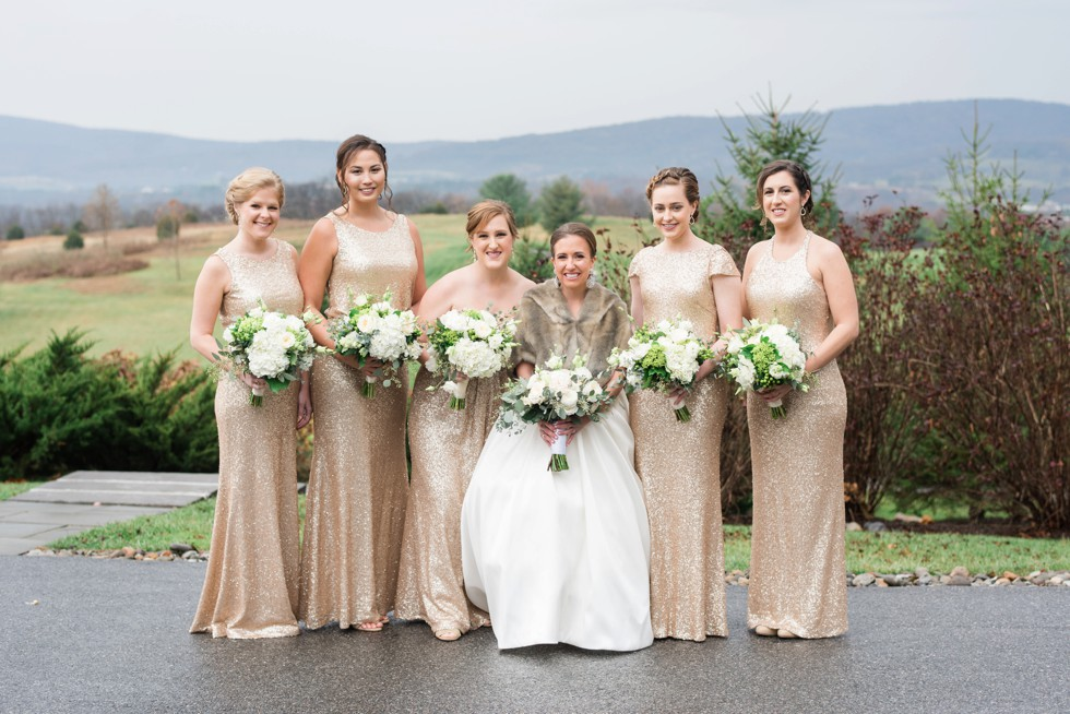 gold sequin bridesmaid dresses on a mountain