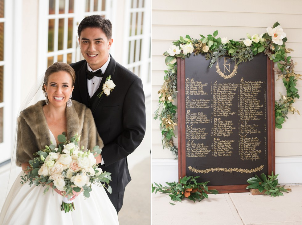 chalkboard gold etching magnolias wedding decoration by Wicked Willow Floral