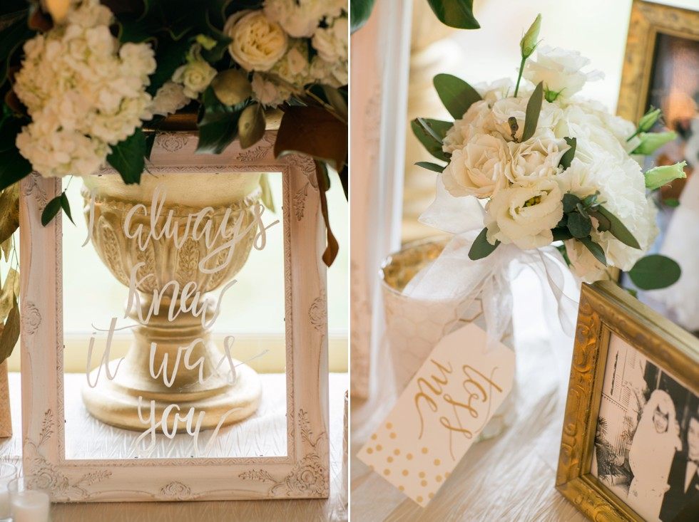 Gold and white magnolias wedding decoration by Wicked Willow Floral