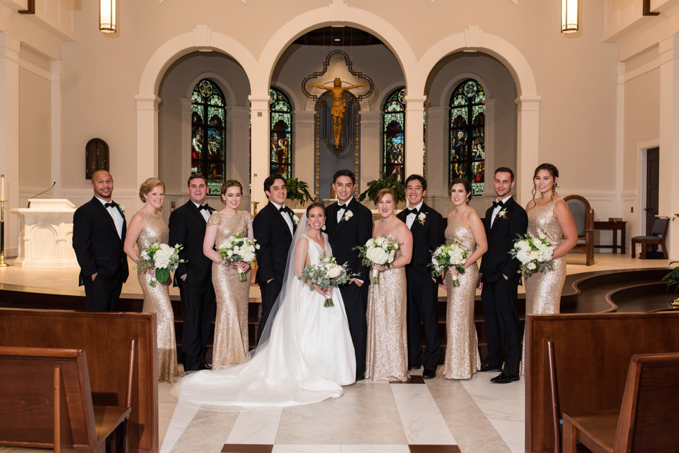 wedding party at Saint Katharine Drexel Catholic Church
