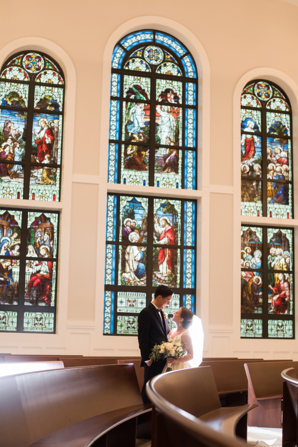 wedding couple at Saint Katharine Drexel Catholic Church