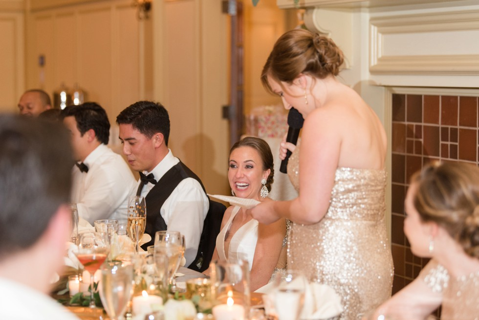 Musket Ridge Golf Club wedding toasts by bridesmaid