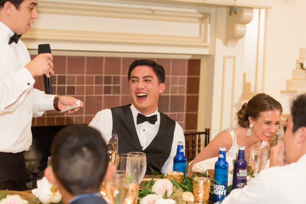 groom laughing at Musket Ridge Golf Club