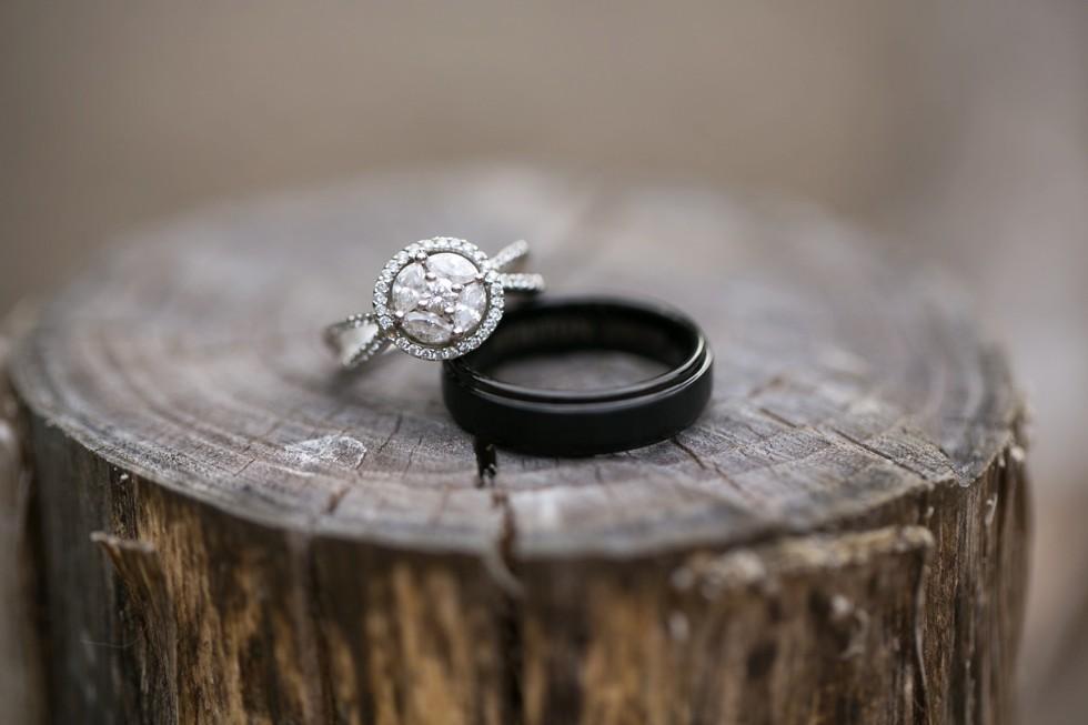 engagement ring and titanium wedding band