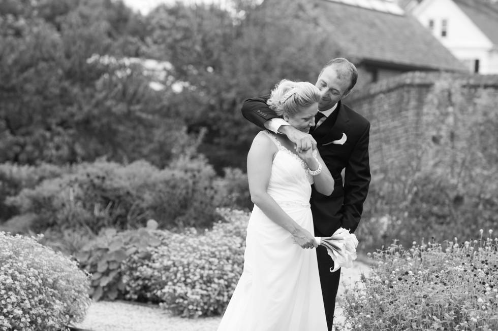 black and white hug elopement photo