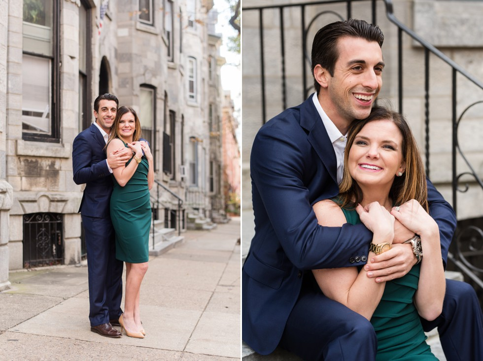 Philadelphia engaged couple in Fitler square