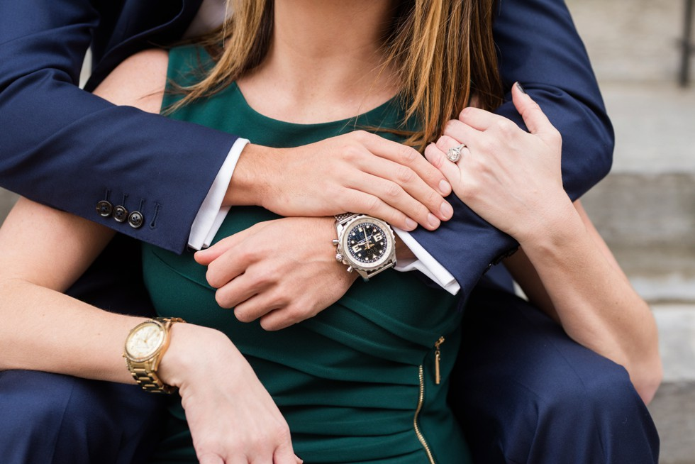 watch and engagement ring