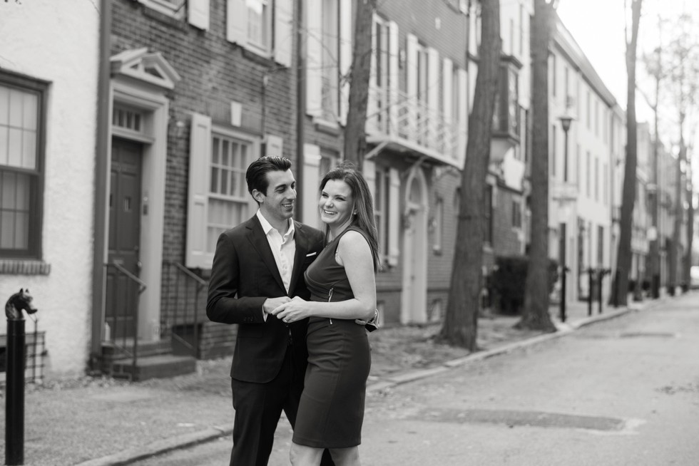 Fitler square engagement black and white photo