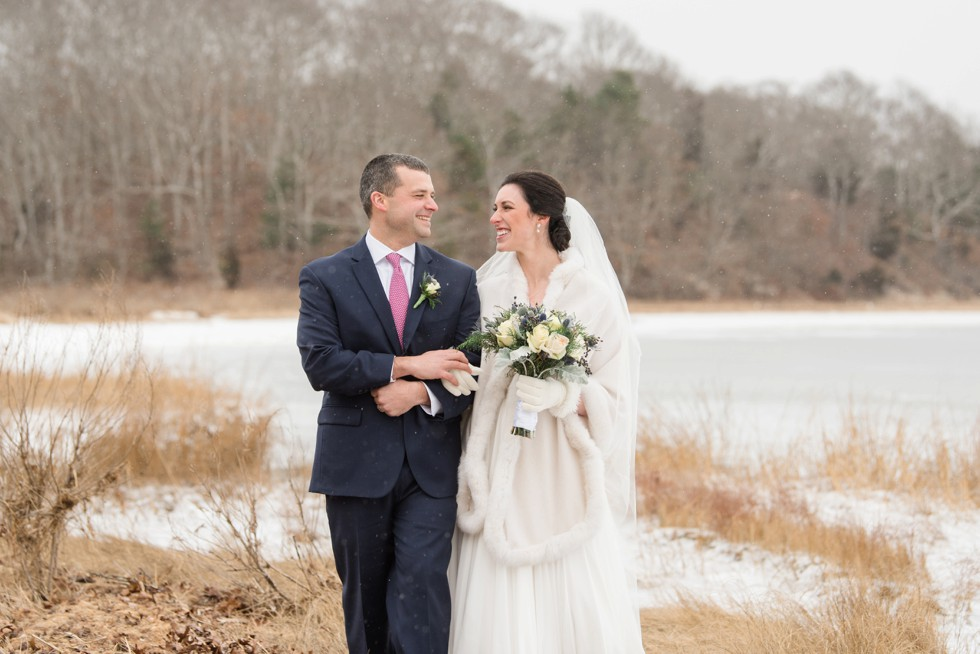 Waquoit Bay snow wedding photo on beach
