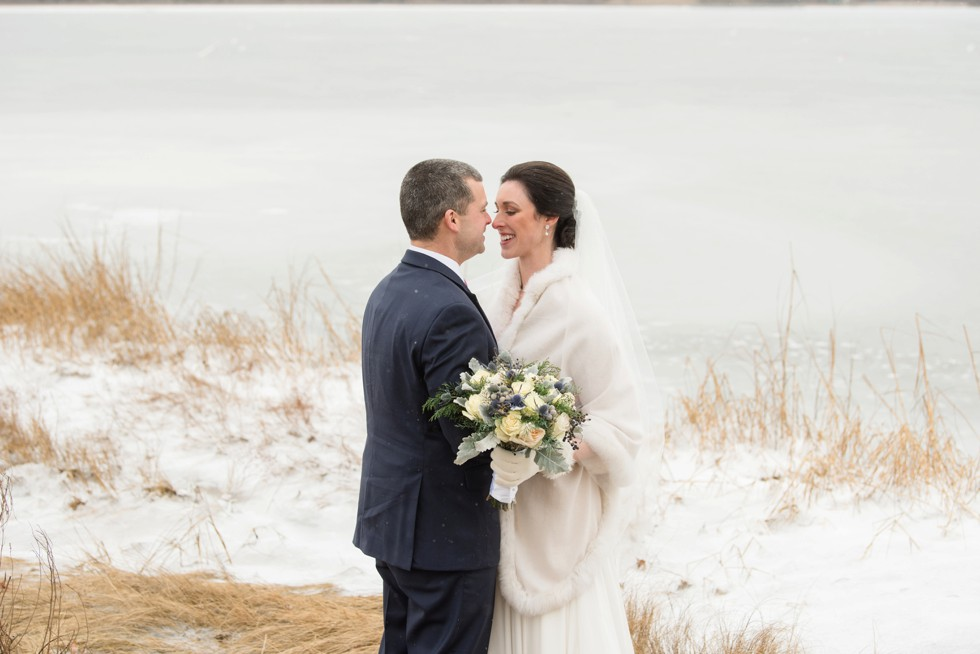 Waquoit Bay snow wedding couple on beach