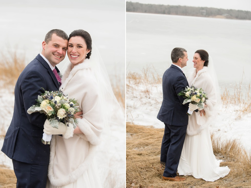 Snowy winter wedding at Waquoit Bay Cape Cod
