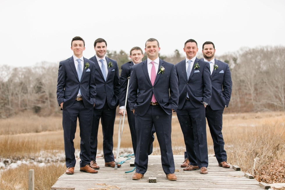 groomsmen Waquoit Bay Cape Cod winter wedding
