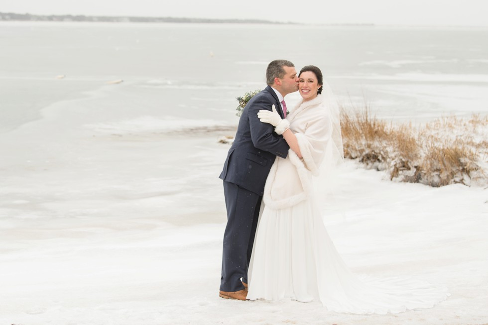 Cape Cod winter wedding on icy beach