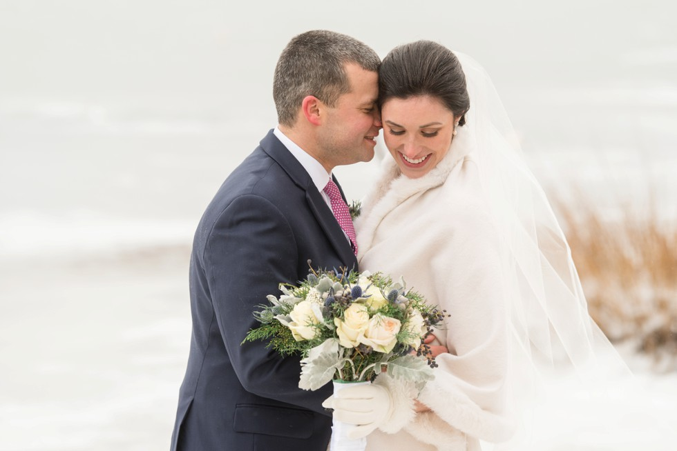 Waquoit Bay Cape Cod winter wedding on icy beach