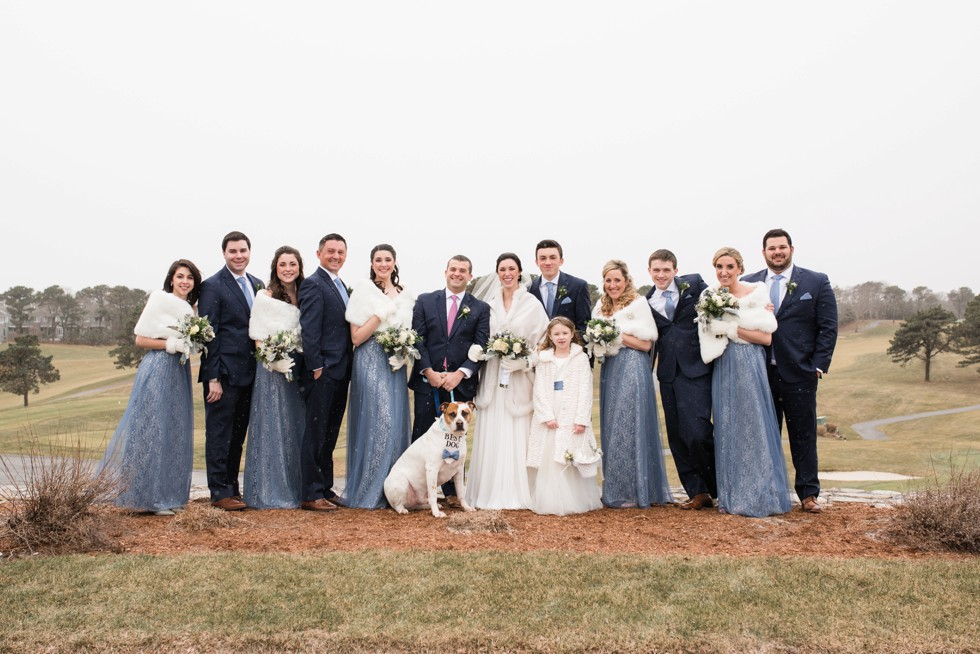 wedding party and dog