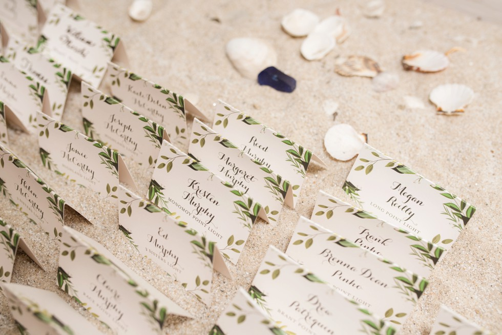 sand and shells name card table