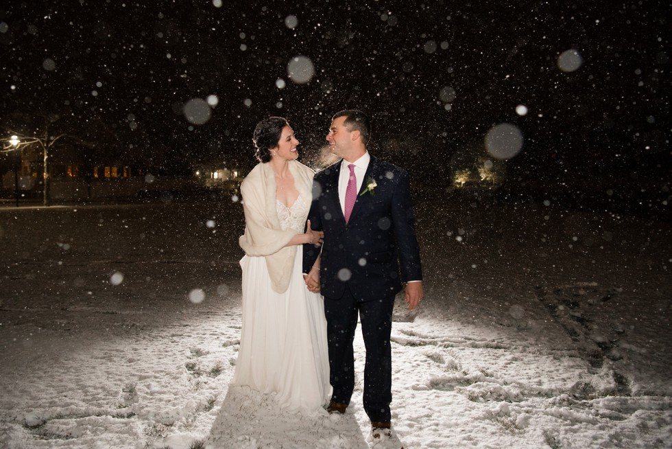 Cape Cod winter wedding photo in the snow