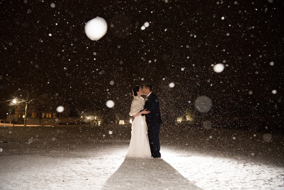 Cape Cod winter wedding photo in snow