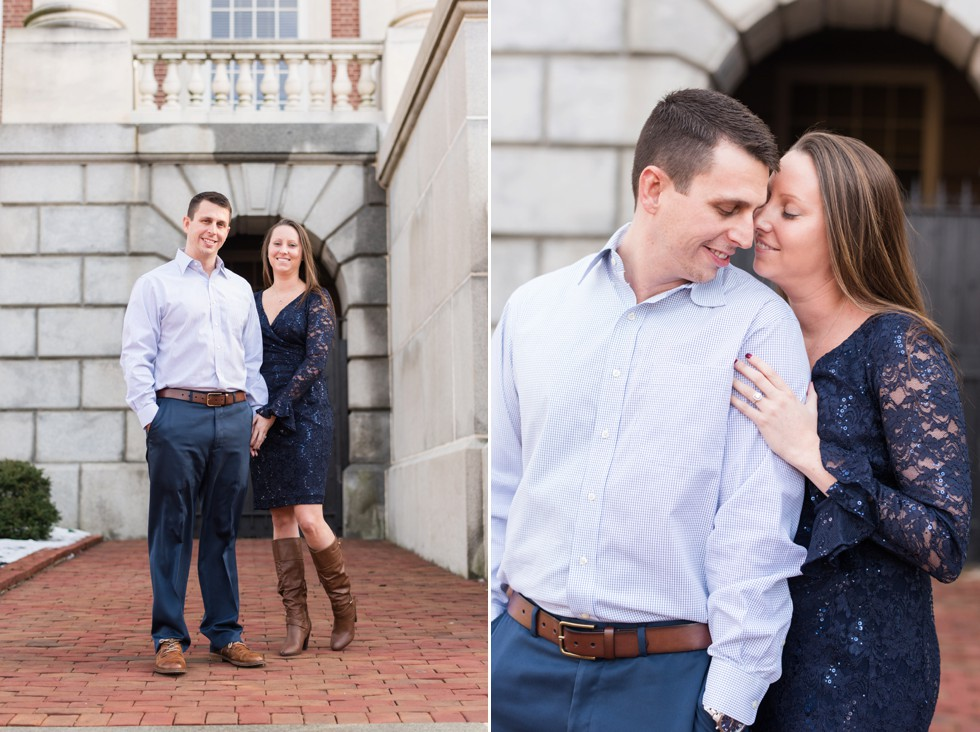 lace navy dress engagement outfit