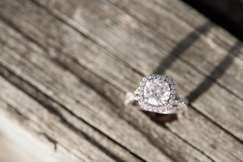 engagement ring on a dock