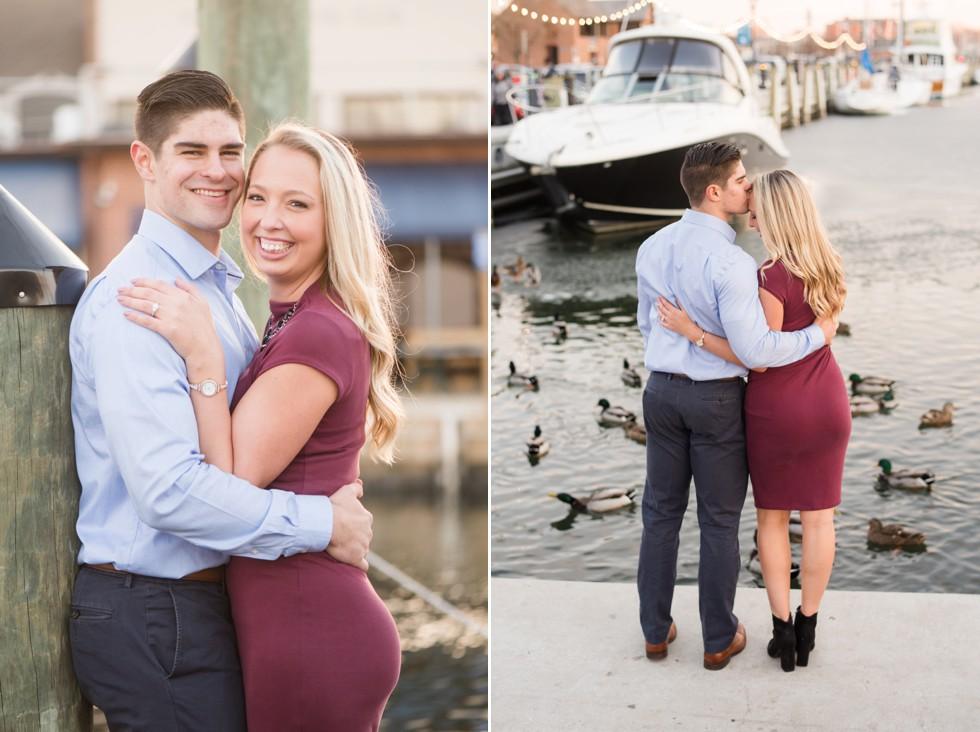 Annapolis harbor engagement photos with mallard ducks