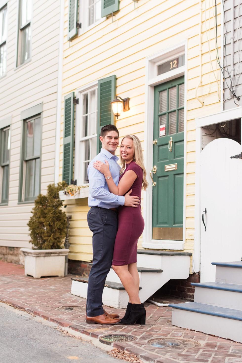 charming annapolis street engagement photo