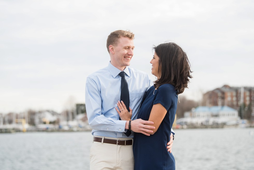 Annapolis waterfront engagement sailboat