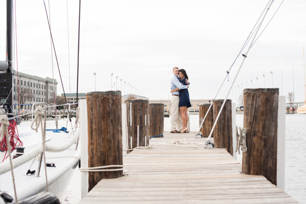 US Naval Academy engagement photographs on a boat
