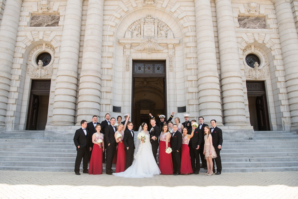 US Naval Academy Bancroft Hall wedding party photo