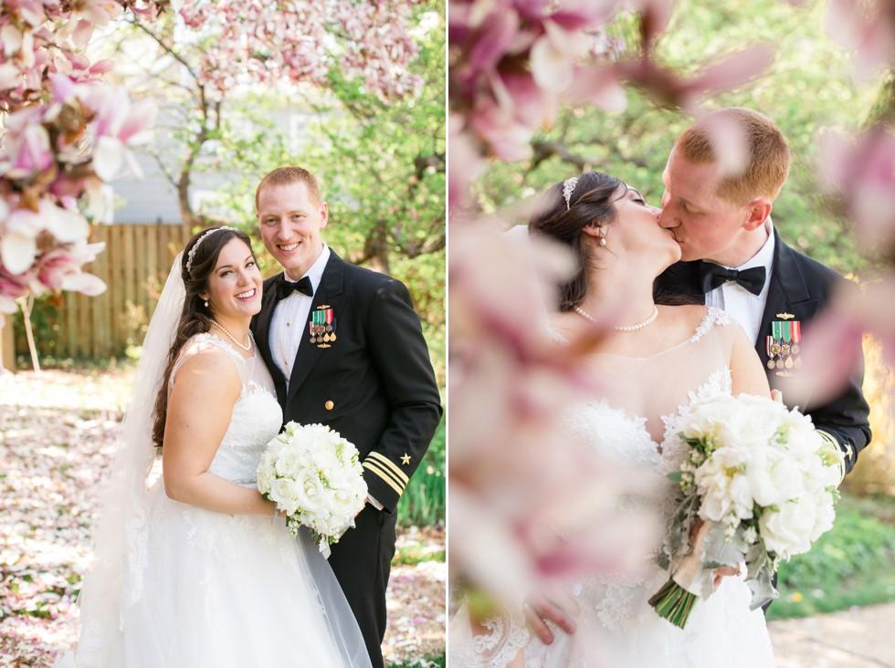 spring magnolia wedding photo