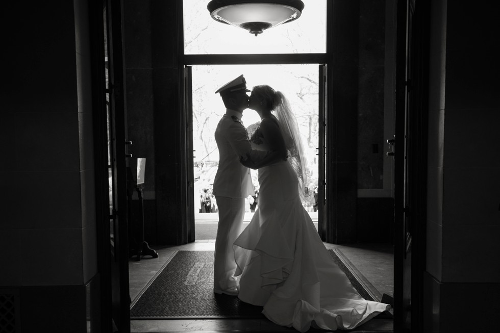 black and white silhouette bride and groom