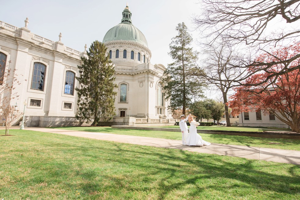 US Naval Academy Chapel Bride and Groom