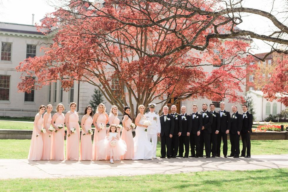 Blush wedding party USNA