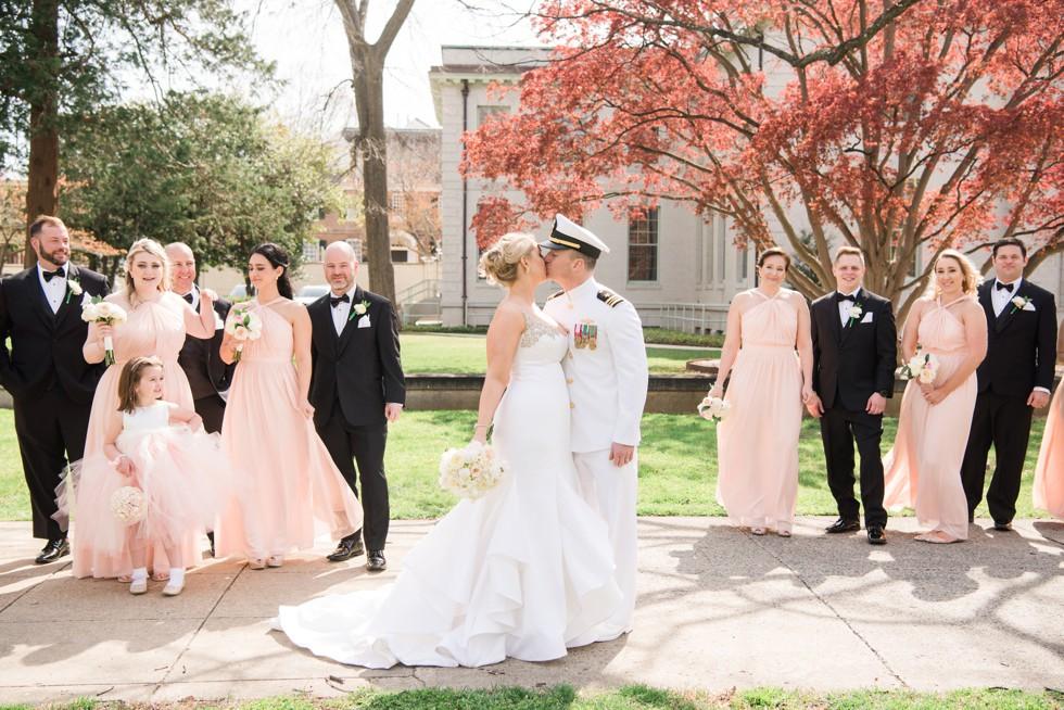 Blush wedding party US Naval Academy