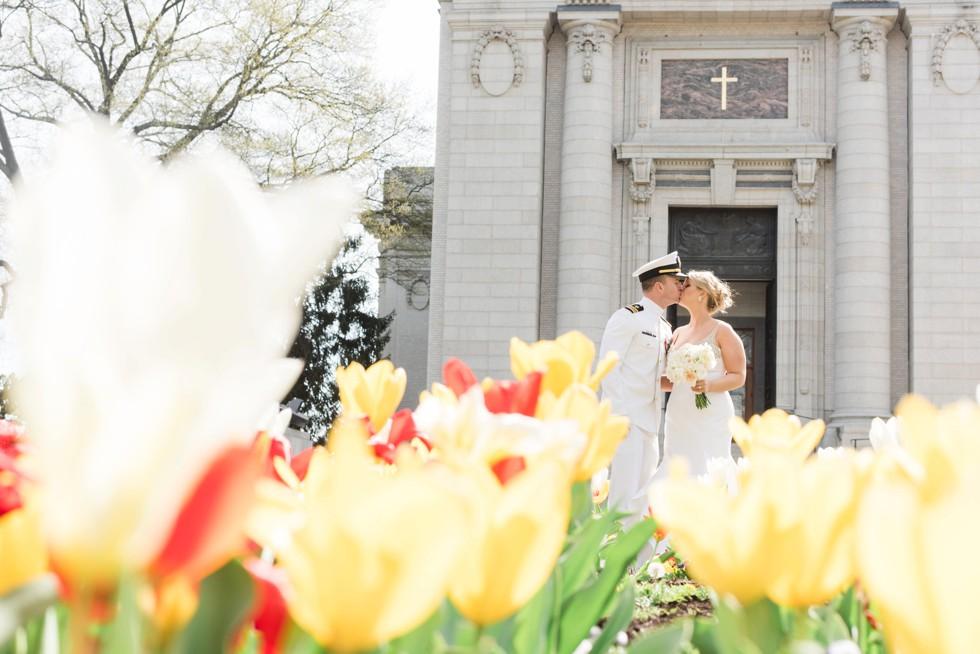 US Naval Academy Chapel tulip garden