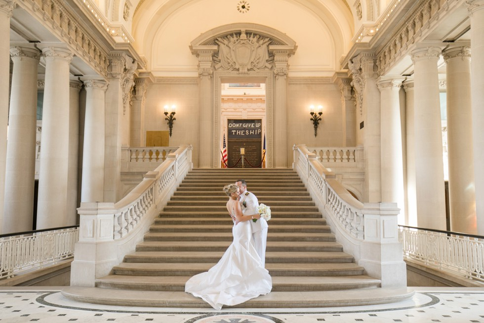 USNA Memorial Hall epic wedding photos