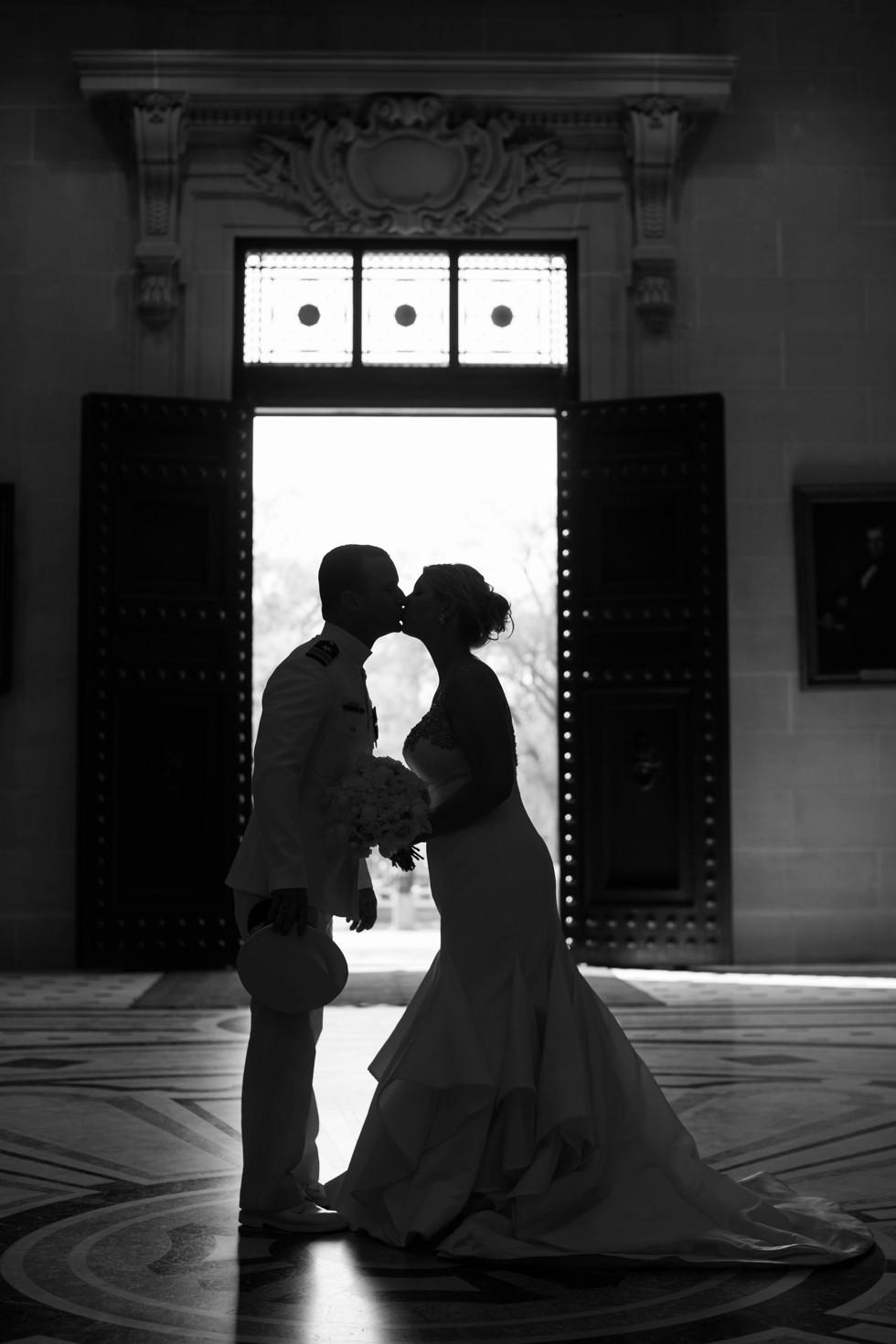 USNA Bancroft Hall silhouette wedding portrait