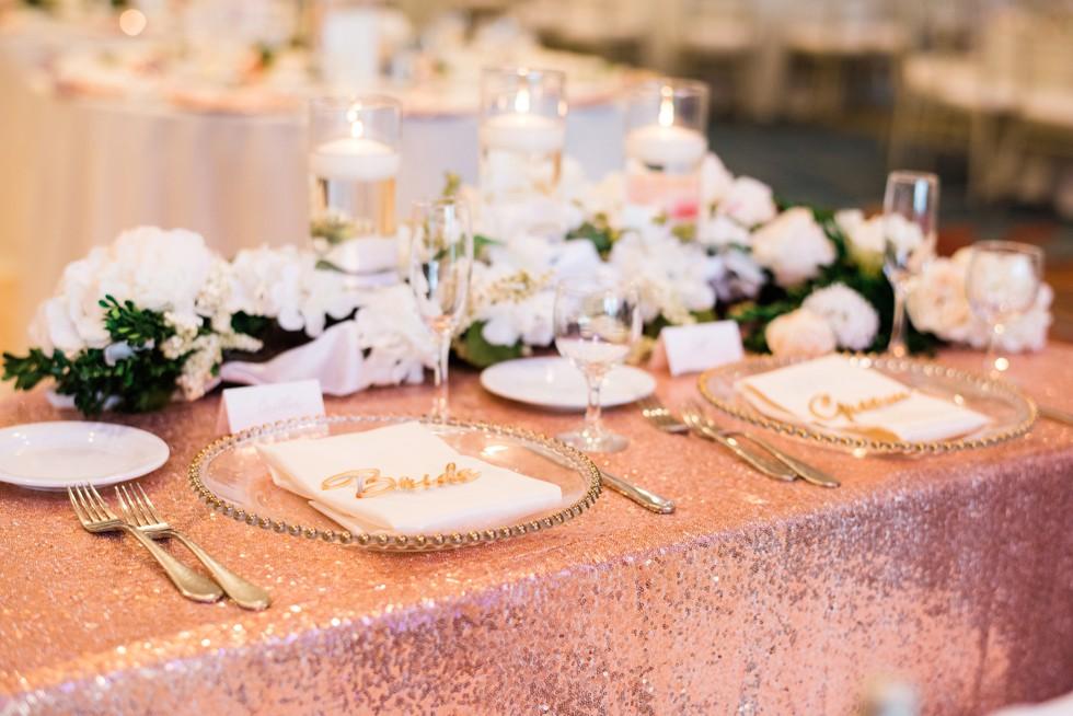 blush rose gold wedding decor