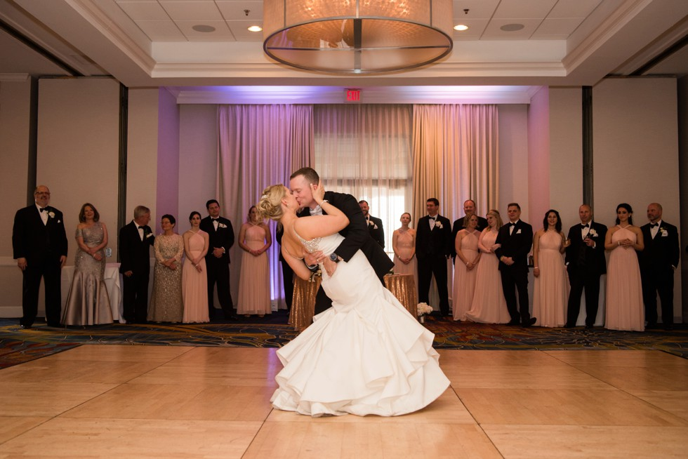 wedding first dance Annapolis Waterfront Hotel, Autograph Collection elegant ballroom