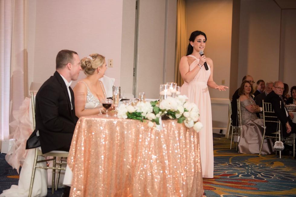 wedding toasts Annapolis Waterfront Hotel, Autograph Collection elegant ballroom