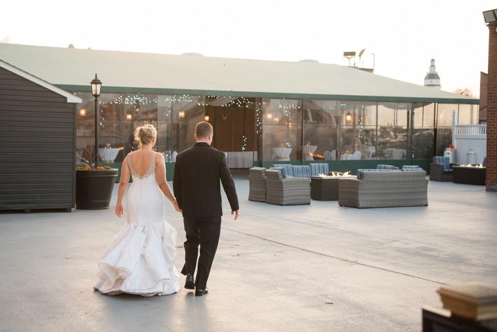 Fire pit evening wedding reception