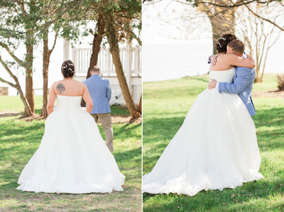 bride and groom in blue first look
