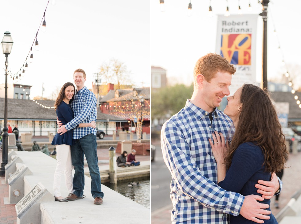 city dock annapolis engaged couple