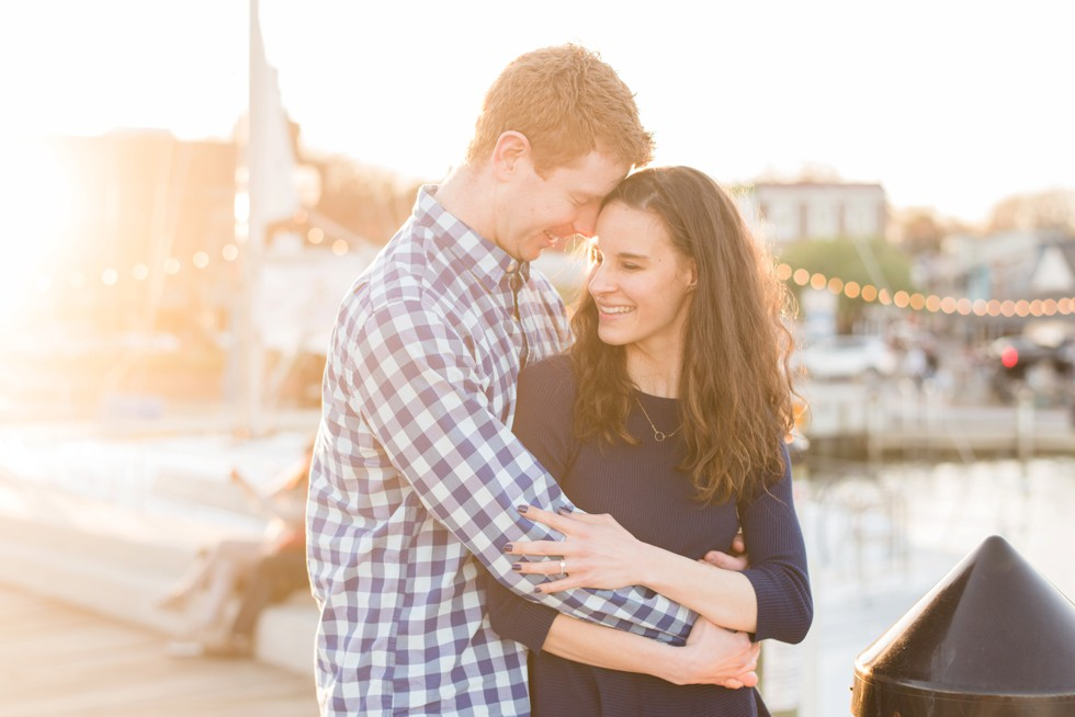 sunset waterfront engagement photos